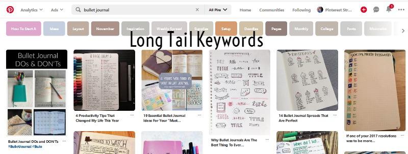 long tail keywords on Pinterest