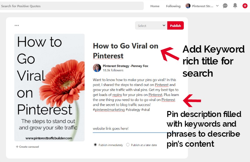 Add in SEO keyword rich pin descriptions