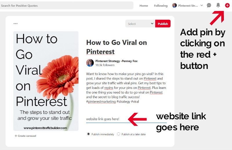 how to add a website link to a pin
